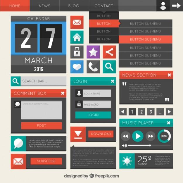 flat-website-design-element-collection
