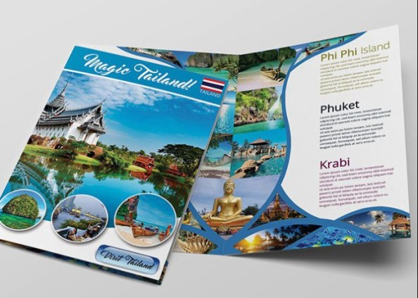 12 attention grabbing bi fold brochure free psd templates for Travel brochures templates