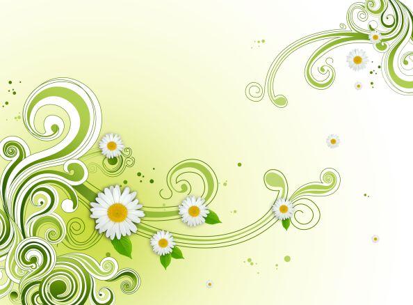 Green Floral Flower Background PSD