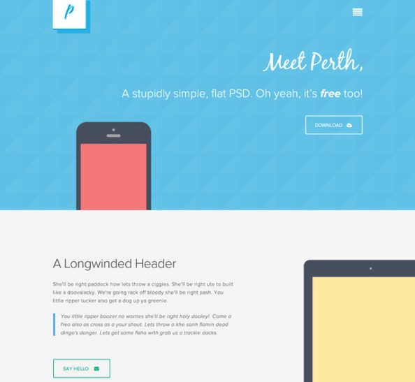 free flat web design template