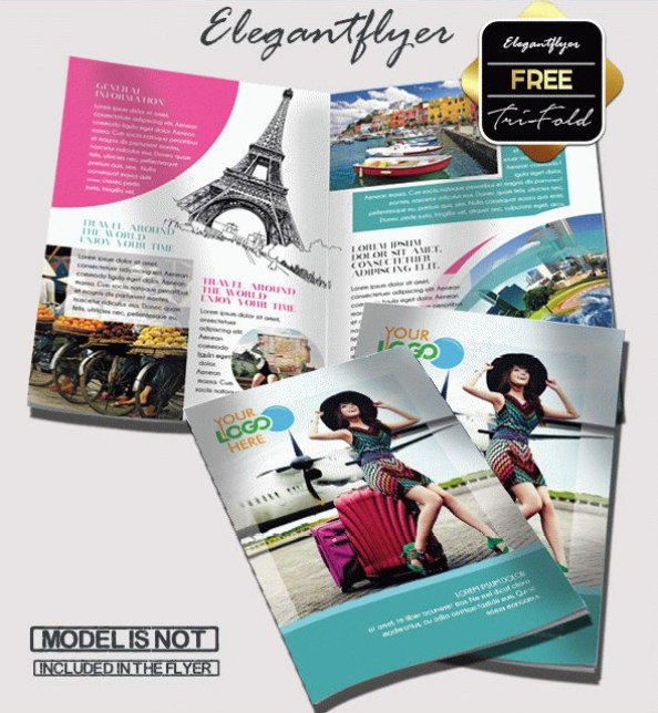 travel bi-fold brochure template