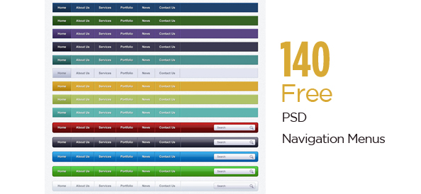 140 Free PSD Navigation Menus for Stunning Web Designs