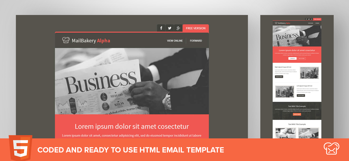 MailBakery Alpha – Free HTML Email Template