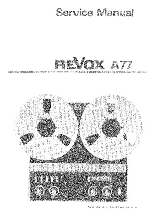 Studer Revox A77 Free service manual pdf Download