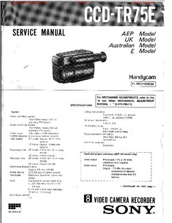 Sony CCD-TR75E Service Manual PDF Free Download