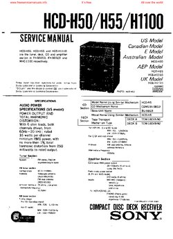 Sony HCD-H50 HCD-H550M HCD-H1100 Free service manual pdf