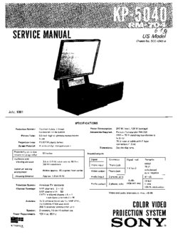 Sony KP-5040 Service Manual PDF Free Download