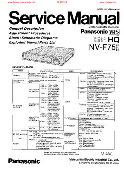 Panasonic NV-F75 Free service manual pdf Download
