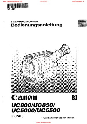 canon UC800 UC850 UC5000 USER GUIDE Free service manual