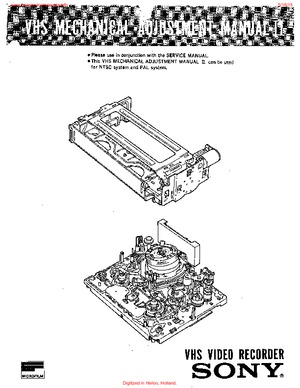 Sony VHS MECHANICAL ADJUSTMENT MANUAL II Free service