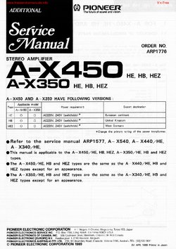 Pioneer A-X450 A-X350 Free service manual pdf Download