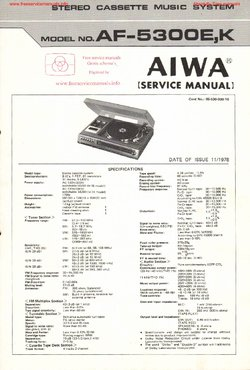 Aiwa AF-5300E AF-5300K Free service manual pdf Download