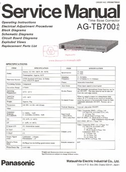 Panasonic AG-TB700 Free service manual pdf Download