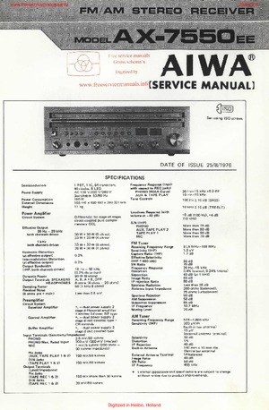 Aiwa AX-7550 EE Free service manual pdf Download