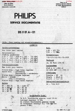 Philips B5X61A RADIO Free service manual pdf Download