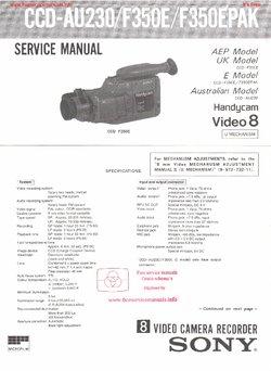 Sony CCD-AU230 CCD-F350E CCD-F350EPAK Free service manual
