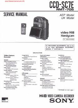 Sony CCD-SC7E Service Manual PDF Free Download