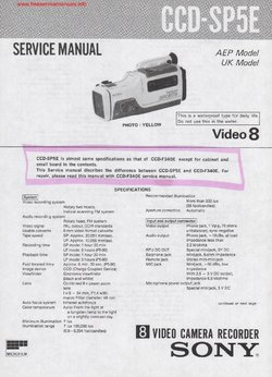 Sony CCD-SP5E Free service manual pdf Download