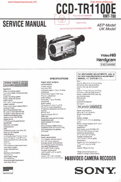 Sony CCD-TR1100E Free service manual pdf Download