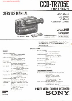 Sony CCD-TR705E Free service manual pdf Download
