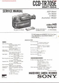 Sony CCD-TR705E Free service manual pdf Download