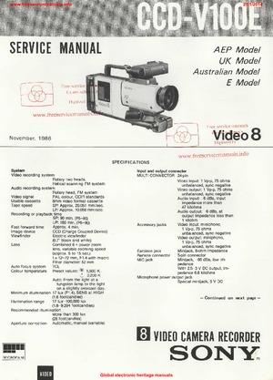 Sony CCD-V100E-SM SERVICE MANUAL Free service manual pdf