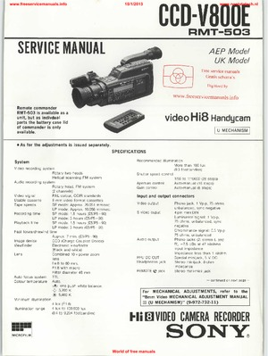 Sony CCD-V800E Free service manual pdf Download