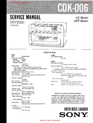 Sony CDK-006 Service Manual PDF Free Download