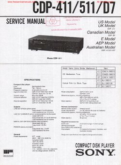 Sony CDP-411 CDP-511 CDP-D7 Free service manual pdf Download