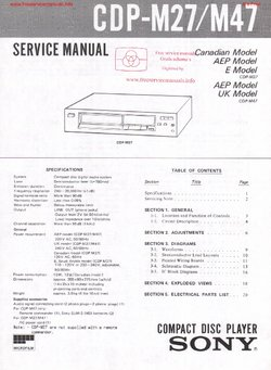 Sony CDP-M27 CDP-M47 Free service manual pdf Download
