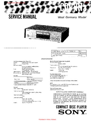Sony CDP-R1A Free service manual pdf Download
