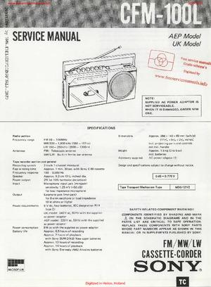 Sony CFM-100L Free service manual pdf Download