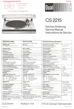 Dual CS2215 Free service manual pdf Download