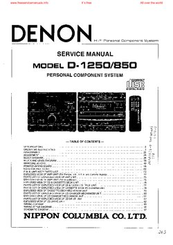 denon D-1250 D-850 Free service manual pdf Download