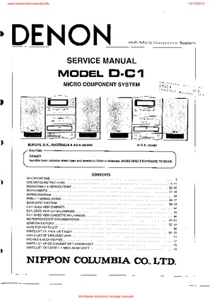 denon D-C1 Service Manual PDF Free Download