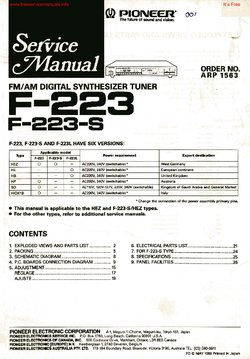 Pioneer F-223 F-223-S Free service manual pdf Download