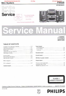 Philips FW630 Free service manual pdf Download