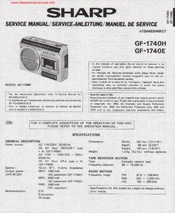 SHARP GF-1740H GF-1740E Service Manual PDF Free Download