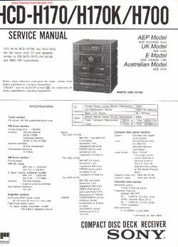 Sony HCD-H170 HCD-H170K HCD-H700 Free service manual pdf