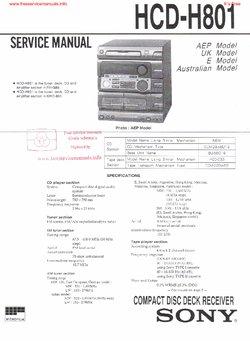 Sony HCD-H801 Free service manual pdf Download