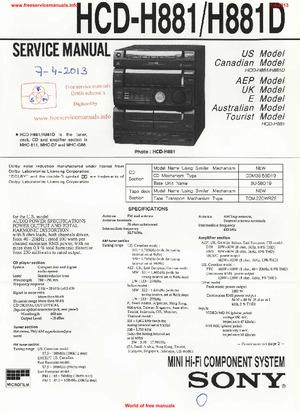 Sony HCD-H881 HCD-H881D Free service manual pdf Download
