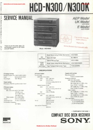 Sony HCD-N300 HCD-N300K Free service manual pdf Download
