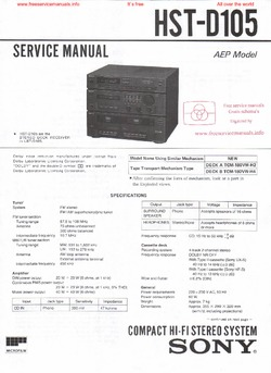 Sony HST-D105 Free service manual pdf Download