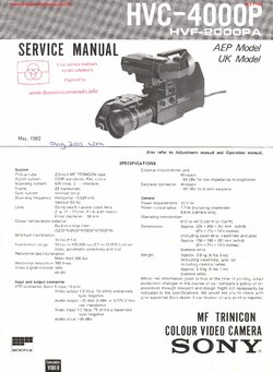 Sony HVC-4000P MF TRINICON Free service manual pdf Download