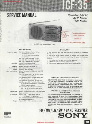Sony ICF-35 Free service manual pdf Download
