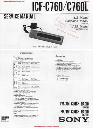 Sony ICF-C760 ICF-C760L Free service manual pdf Download
