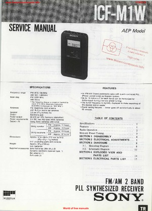 Sony ICF-M1W Free service manual pdf Download