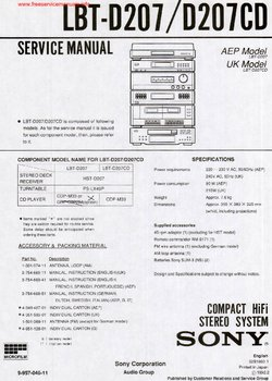 Sony LBT-D207 LBT-D207CD Free service manual pdf Download