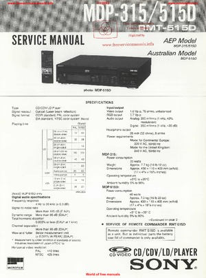 Sony MDP-315 MDP-515D Free service manual pdf Download