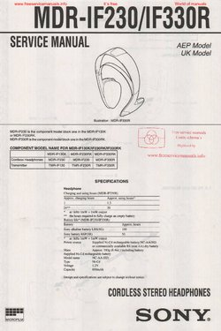 Sony MDR-IF230 MDR-IF330R Free service manual pdf Download